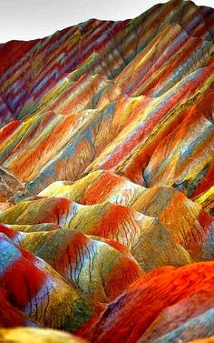 View of colourful rock formations at the Zhangye Danxia Landform Geological Park in Gansu , China