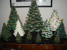 The perfect complement to your ceramic Christmas village houses - ceramic Christmas trees. These add so much more depth and variety to the scene. And these kinds of trees were EVERYWHERE when I was growing up. Vintage Ceramic Christmas Tree, Metal Christmas Tree, Christmas Past, Merry Little Christmas, Retro Christmas, Vintage Holiday, Rustic Christmas, Xmas Tree, Christmas Holidays