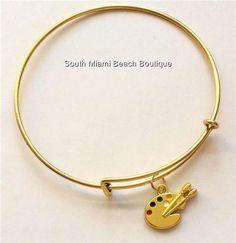 Gold Artists Palette Charm Bracelet Pallet Artist Art Teacher Gift Enamel USA #Handmade #SlideSlider