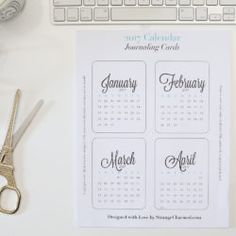 2017 Printable Monthly Journaling Cards for Planners, Project Life and More!