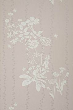 Wild Meadow Wallpaper Dusky pink wallpaper with gold daisy chain stripe and overprint of white wild flower design