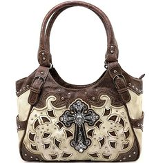 Beautiful Western Tooled Leather Laser Cut Design Roximate Size X Top Zipper Closure Multiple Interior Pockets Two Side Back Conceal Carry