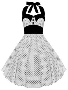 Vintage Halterneck Polka Dot A-Line Dress For Women