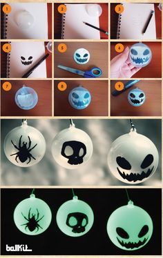 Tuto de réalisation de boule terrifiante pour les fêtes d'Halloween.  Pour un Halloween horrifique, de jour comme de nuit !