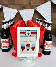 Love this idea...tons of cute pics on this site for an ice cream party Root beer float station - cuuute
