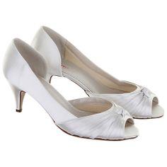 Buy Rainbow Club Cheryl Pleat Detail Satin Peep-Toe Shoes, Ivory Online at johnlewis.com
