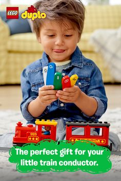 Give the perfect gift this holiday with the LEGO® DUPLO® Steam Train! It's easy for your toddler to play and learn with a Push & Go train car, buildable tracks and 5 color-coded action bricks that control the train. Plus there's an optional app for more fun activities! Best for 2-5 year olds. Make Money From Home, How To Make Money, Gift For Lover, Lovers Gift, Niece And Nephew, Lego Duplo, Healthy Kids, Legos, Cute Gifts