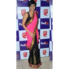 """""""Color: Pink And Black Collection: Bollywood Replica Saree Fabric: Chiffon Rs.1,623.00"""