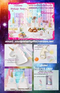 Unicorn party ideas for table decoration & favors & supplies for sale ORDER (732) 714-1600 we have lots of Unicorn & carousel horse party centerpieces and decorations to see more of our products on  https://www.pinterest.com/southbeachgifts/