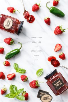 Strawberry Jam Two Ways (with Basil and Jalapeño!) Because too many strawberries is never a problem.