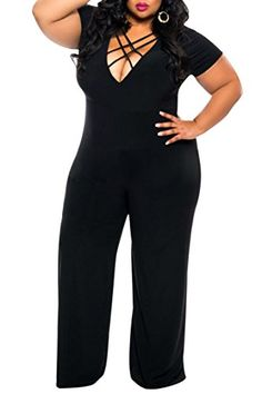 ddffc8da1da0 VamJump Women Sexy Deep V Neck Bodysuit Slim One Piece Full Jumpsuit 3XL  Black. Bling DressPlus Size ...