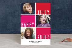 Jolly Happy Souls holiday photo cards by Up Up Creative for Minted