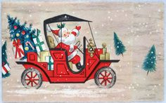 #196 50s Santa Drives the Jalopy Car, Vintage Christmas Card-Greeting