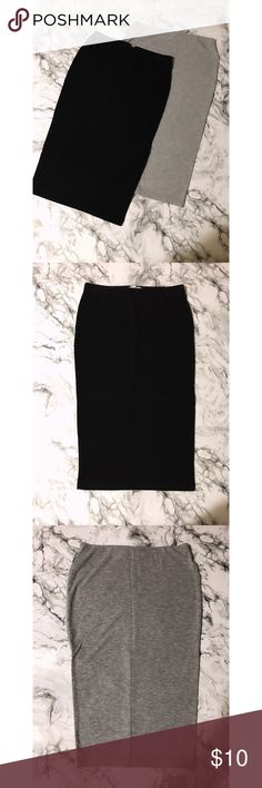 BUNDLE of Bodycon Midi Skirts Bundle of 2 bodycon midi skirts in gray and black. Comfortable and stretchy. Size: Small Skirts Midi