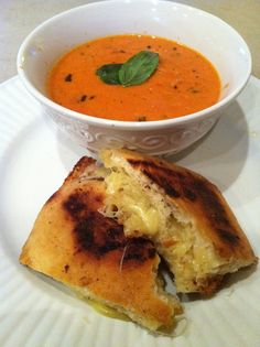tomato basil bisque and aged cheddar and ciabatta grilled cheese