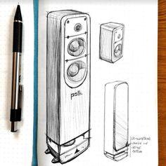 Michael DiTullo Design Sketching Sketchbook Polk Sound Speaker