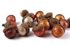 Sculpted Glitter Acorns with Natural Caps in Autumn Colors