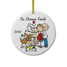 Stick Figures Expectant Couple With Girl, Boy, Dog Christmas Holiday Keepsake Personalized Dated Ornament