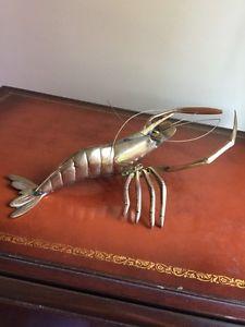 Really Cool Solid Brass Shrimp - Prawn Sculpture Nautical - Ocean - Beach House