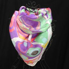 Purple and Green Marbled Scarf by ComplementsByLaura on Etsy