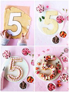 ▷ 1001 + idées originales pour un gâteau chiffre tendance simple and beautiful birthday cake in the shape of a figure, 5 years birthday cookie cake with pink icing Number Birthday Cakes, Number Cakes, Cake Birthday, Birthday Cake Decorating, Cookie Decorating, Pink Icing, Biscuit Cake, Cupcakes, Cream Cake