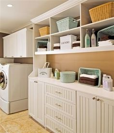 LAUNDRY ROOM – Another great design idea for a well-functioning laundry room. Traditional Laundry Room Design, Pictures, Remodel, Decor and Ideas. Room Organization, Laundry Room Design, Laundry Design, Room Storage Diy, Room Shelves, Shelving, Home Decor, Room Design