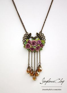 purple rose flowers necklace flowers necklace by Joyloveclay, $32.00