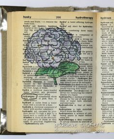 This week's word in my stamped dictionary is Hydrangea.