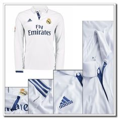 Neues Real Madrid Heimtrikot Langarm Adidas Weiß 2016 2017 Ronaldo Jersey, Adidas Jacket, Trunks, Swimming, Athletic, Coat, Swimwear, Jackets, Fashion