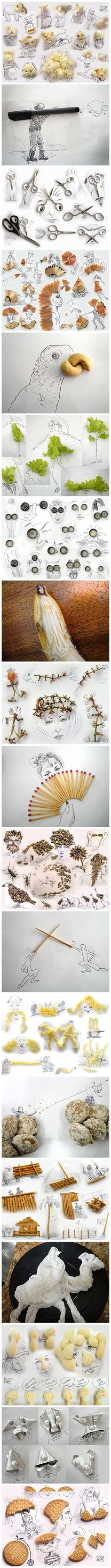 Victor Nunes will change the way you look at common-day things. Seriously, what a whimsical imagination he must have. Artist Victor Nunes turns everyday objects into sets of cute and quirky doodles. H(Baking Eggplant Fries) Street Art, Wow Art, Everyday Objects, Art Plastique, Creative Art, Amazing Art, Awesome, Art Drawings, Art Projects