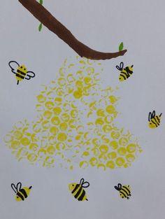 Bienenstock und Bienen malen - Basteln mit Kindern - Women's style: Patterns of sustainability Diy Crafts To Do, Bee Crafts, Preschool Crafts, Diy For Kids, Crafts For Kids, Arts And Crafts, Children Crafts, Bee Art, Easy Paintings