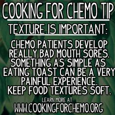 Cooking for Chemo Tip: How to combat mouth sores when cooking for someone going through chemotherapy.  #cancer #recipes #cookingforchemo #cancersucks #cookingtips #chefryancallahan
