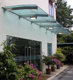 Glass awning