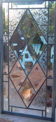 291d8e5e405 Stained Glass Window Antique Diamond Beveled by stainedglassfusion