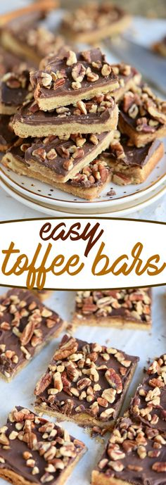 You're going to go crazy for these Easy Toffee Bars! Simply delicious cookie b… You're going to go crazy for these Easy Toffee Bars! Simply delicious cookie bars topped with milk chocolate and pecans! Just fantastic! // Mom On Timeout Toffee Cookies, Yummy Cookies, Cookie Bars, Yummy Treats, Delicious Desserts, Sweet Treats, Bar Cookies, Yummy Food, Pecan Recipes