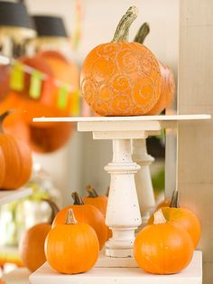 Glittery Pumpkin Display