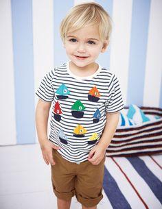 Cute embellishment on a boy's tee {BodenClothing: Little Vehicles T-shirt} #sew #embellish #appliquè
