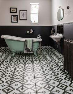 This dramatic monochrome tile creates instant impact with bold geometric diamonds. Soften the graphic lines with textured furnishings, painted wood and metallic accessories.