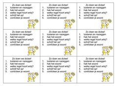 Zo werk ik nu ook in de klas, stappenplankaartjes voor het maken van het dictee. Elke dag!! Spelling And Grammar, School Items, School Hacks, Kids Education, Classroom Organization, Second Grade, Quotations, Back To School, Language