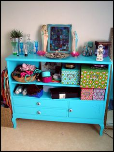 Love repainted, repurposed furniture :) take out all the stuff and replace with kitchen appliances.. books, craft, colors, bedroom closets, dressers, drawers, furniture, blues, kitsch