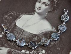 Antique Button Bracelet  Silver Sparkle by kandujewel on Etsy,