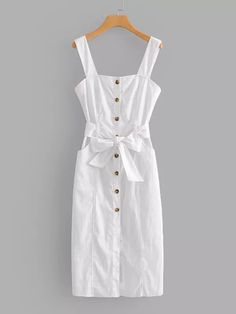 Vestido con botón con lazo-Spanish SheIn(Sheinside)
