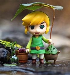 Link using a leaf to stay dry - photo by CaptainDangerous