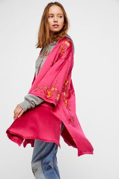 Embroidered Silk Kimono | Luxe silk kimono in an oversized shape with beautiful and colorful floral embroidery detailing.   * Hip pockets * Lined