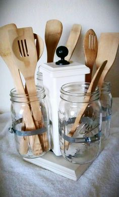 Ball Jar Desk Caddy, Large, Kitchen Utensil Caddy, Desk Organizer, Utensil Caddy, Paint Brush, Pen, Pencil Holder. $132.00, via Etsy.