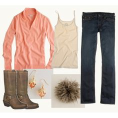 coral meets western...love it! (minus the feather thing)
