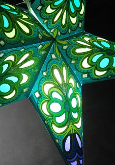 Green and Turquoise 24 in. Flower Star Lanterns. Awesome discounted crafts website.