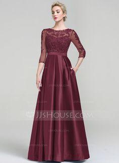[US$ 124.19] Corte de baile Escote redondo Hasta el suelo Satén Vestido de noche