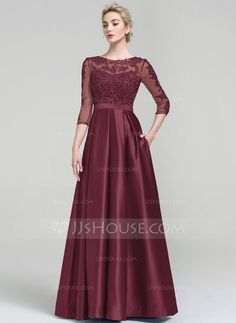 [US$ 124.19] Ball-Gown Scoop Neck Floor-Length Satin Evening Dress (017093487)