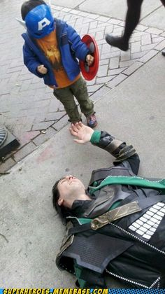 Tom Hiddleston loses to Mark Ruffalo's son... I mean, Captain America defeats Loki!